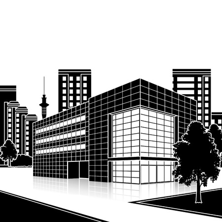 office building: silhouette office building with the entrance and a reflection on the background of the street Illustration
