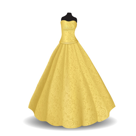 wedding reception decoration: yellow party dress with shadow on a white background Illustration