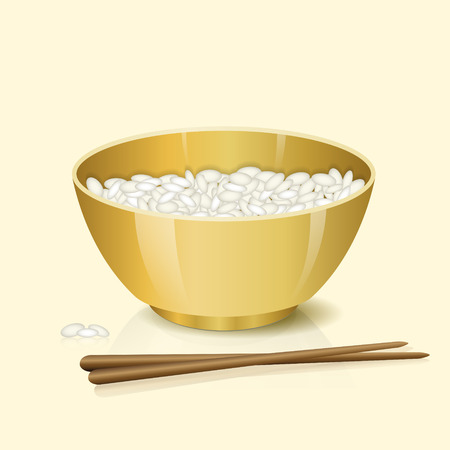 small group of objects: yellow bowl with rice and chopsticks on a light background