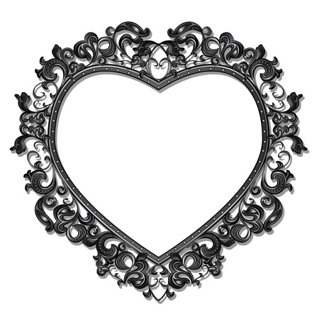 floral ornaments: frame in the shape of heart for picture or photo with shadow on white background