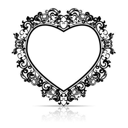 silueta del marco en forma de corazón para la imagen o foto con sombra sobre fondo blanco