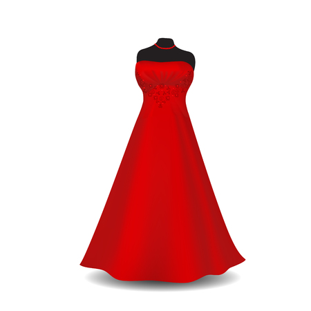 wedding reception decoration: red party dress with shadow on a white background