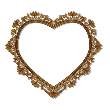 frame in the shape of heart with shadow on white background