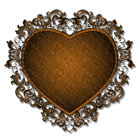 background picture: frame in the shape of heart for picture or photo with shadow on white background