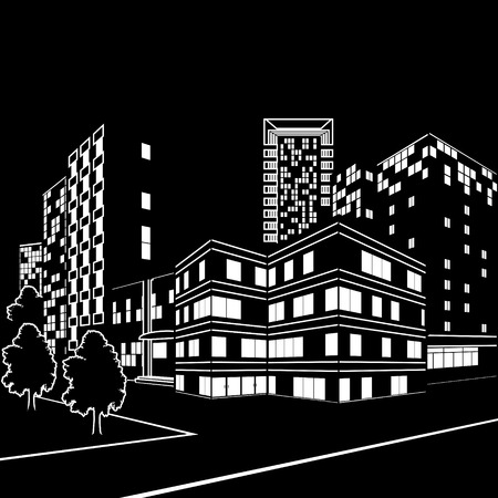 silhouette of buildings and streets at night on black background