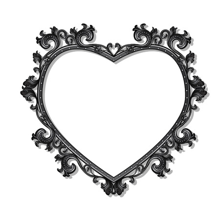 silver picture frame: frame in the shape of heart for picture or photo with shadow on white background