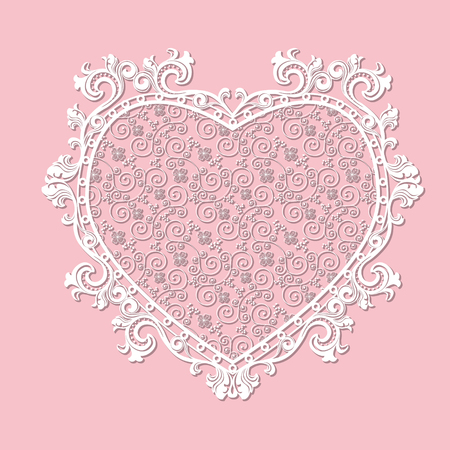 frame heart-shaped paper for picture or photo with shadow on pink background