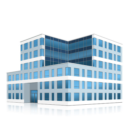industrial building: office building with entrance and reflection on white background