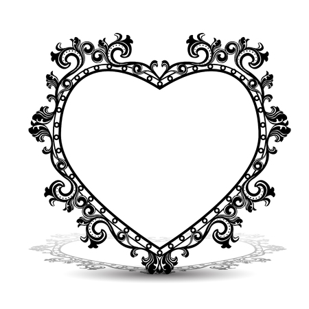 silver picture frame: silhouette frame in the shape of heart for picture or photo with shadow on white background