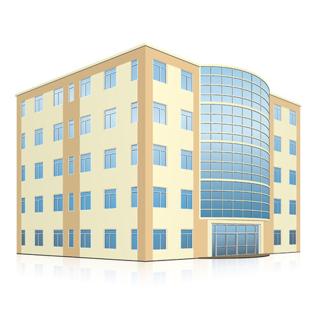 square image: office building with entrance and reflection on white background