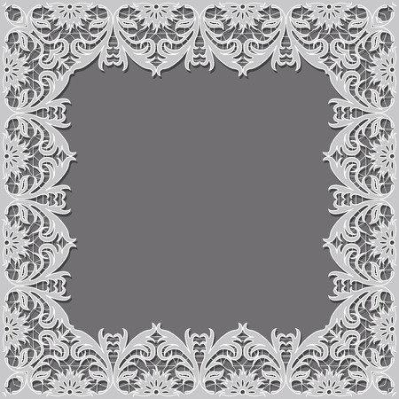 cutwork: frame in the shape of a square of embroidered cutwork Illustration