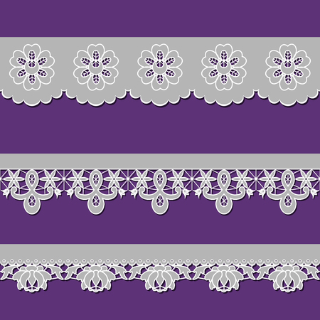 cutwork: set of ribbons embroidered cutwork on a purple background