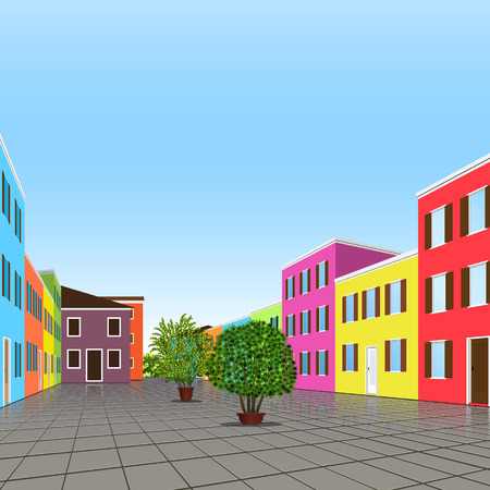street symbols: city street with colorful houses and plants
