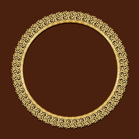 wooden circle: round frame gold color with shadow on brown background