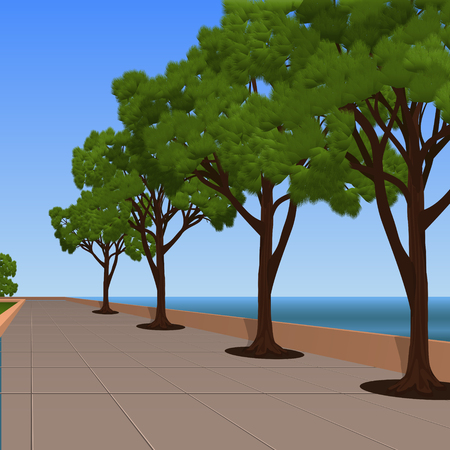 alley on the sea promenade with pines Illustration