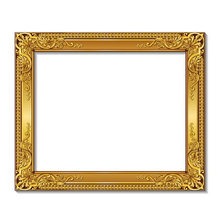 frame gold color with shadowon a white background