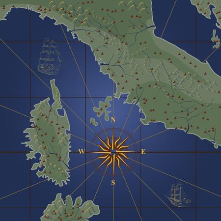 vecchia mappa con una bussola e navi su uno sfondo blu Vettoriali