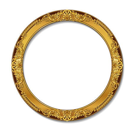 wooden circle: round frame gold color with shadow on white background