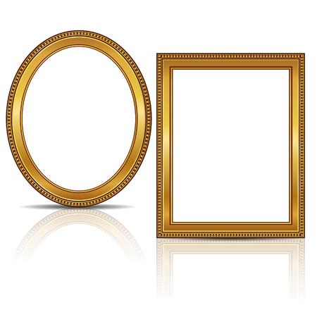Cuadros de color oro con sombra sobre fondo blanco Foto de archivo - 69256591