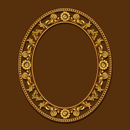 wood carvings: frame gold color with shadow on brown background Illustration