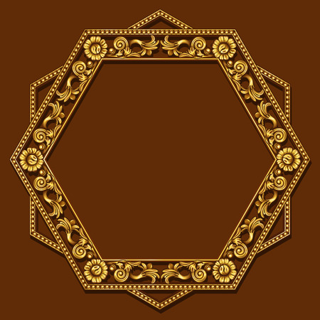 art museum: frame gold color with shadow on brown background Illustration