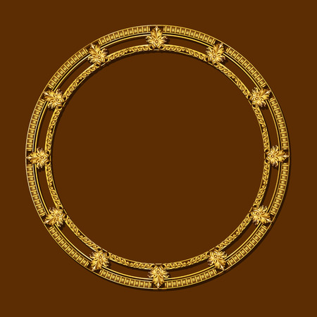 wooden circle: frame gold color with shadow on brown background Illustration