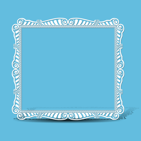 square frame: carved vintage frame made of paper for picture with shadow Illustration