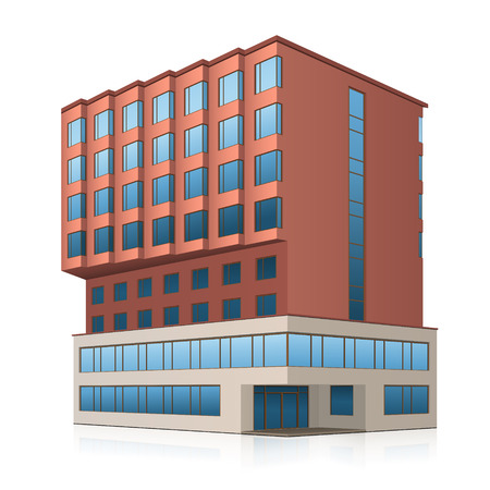 building structures: office building with entrance and reflection on white background