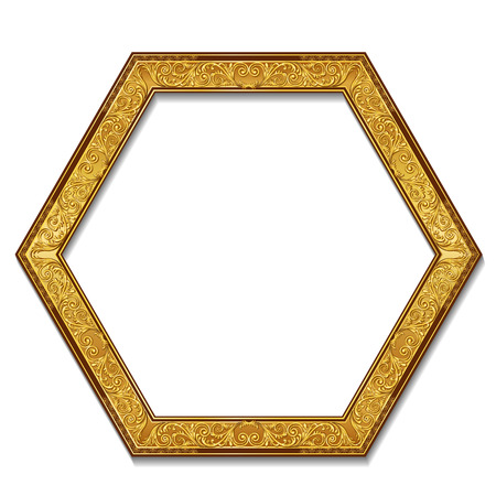 art museum: frame gold color with shadow on white background