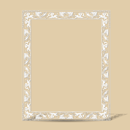 art museum: carved vintage frame made of paper for picture or photo with shadow on light background