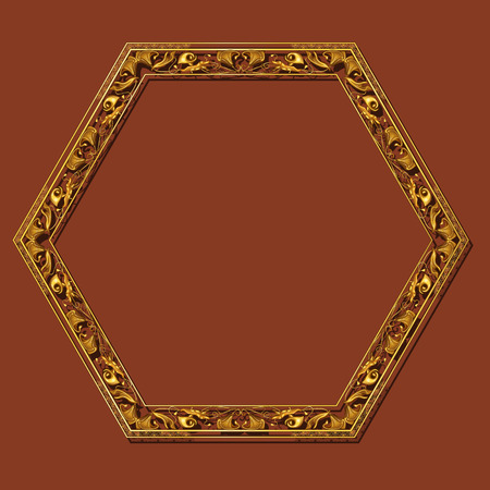 art museum: Frame gold color with shadow on brown background.