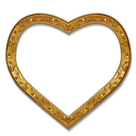 shiny hearts: Frame gold color with shadow on white background.
