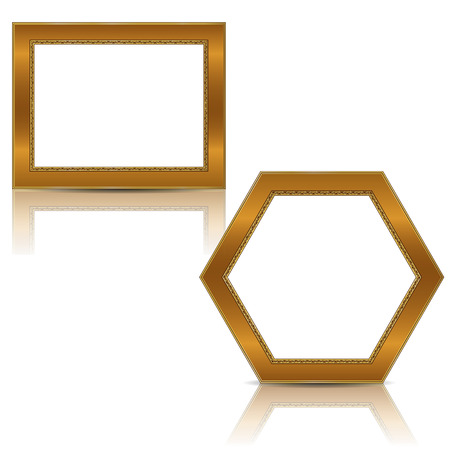 art museum: Frames gold color with shadow on white background