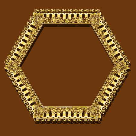 Hexagon shaped frame with gold color border. Illustration