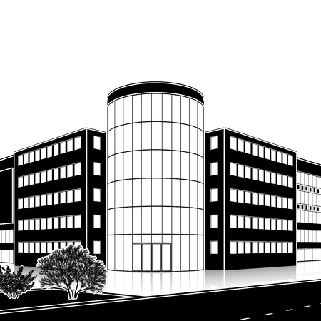 districts: Silhouette office building with the entrance and a reflection on the background of the street