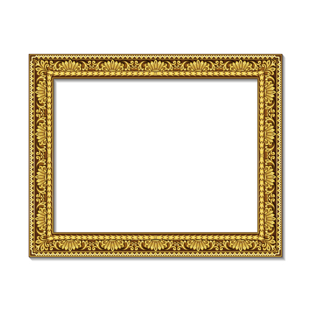 A frame gold color with shadow on white background. Illustration