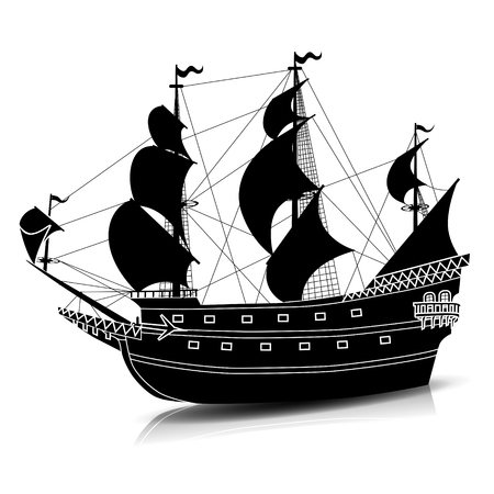 silhouette vintage sailing ship with reflection on a white background Illustration