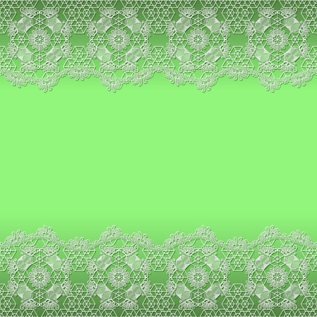womanly: white lace frame with shadow on a green background