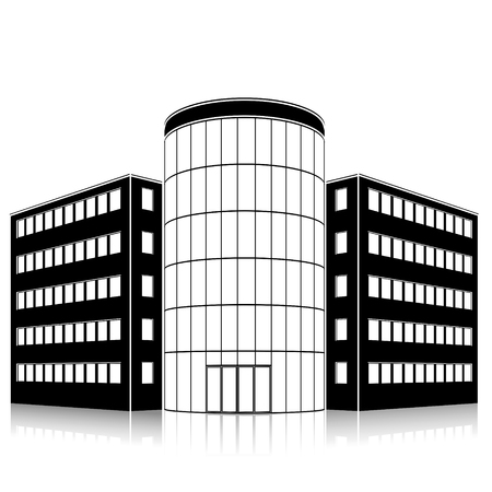 hotel building: Silhouette office building with an entrance and reflection on a white background