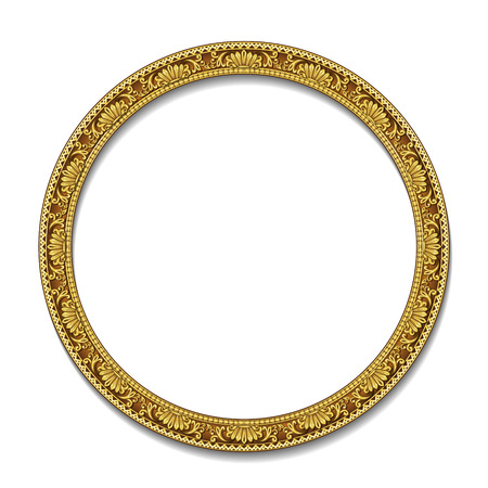 round frame gold color with shadow on white background