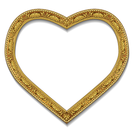 shiny hearts: frame gold color with shadow on white background
