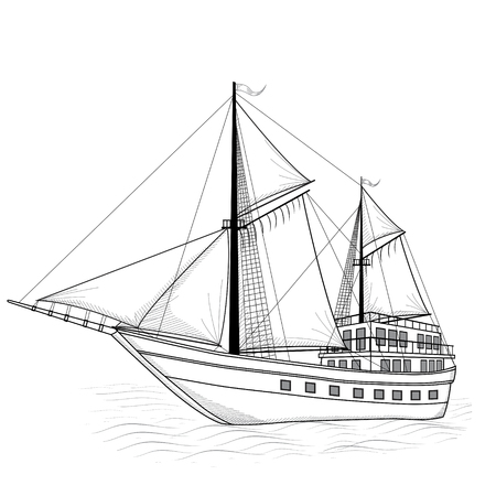 vintage ship with sails and reflection on a white background Illustration