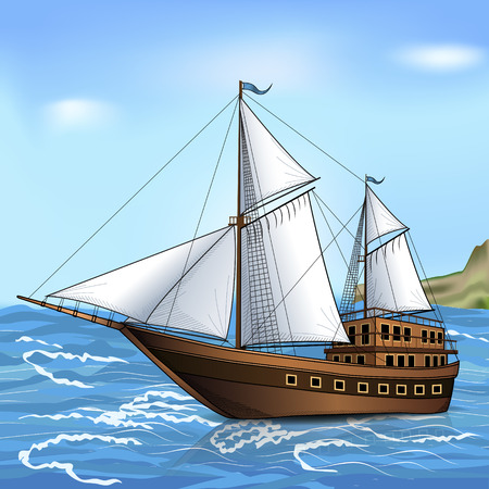 Vintage sailing ship in the sea with reflection Stock Vector - 83879153