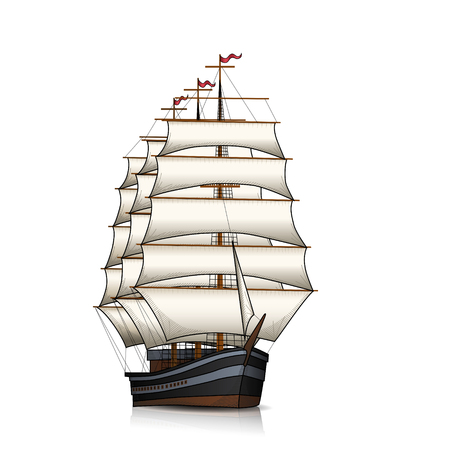 vintage sailing ship with reflection on a white background Stock Vector - 84870094