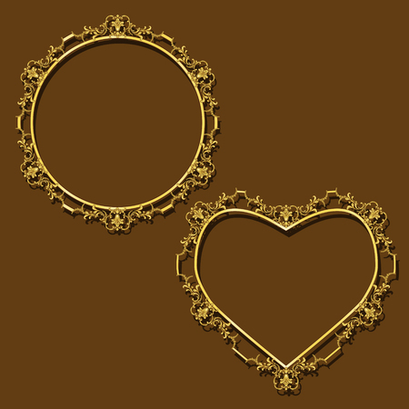 Frames gold color circle and heart with shadow on brown background