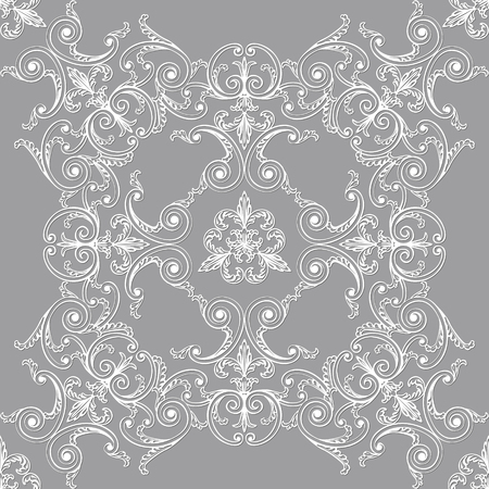 White flowers on a gray backdrop pattern.