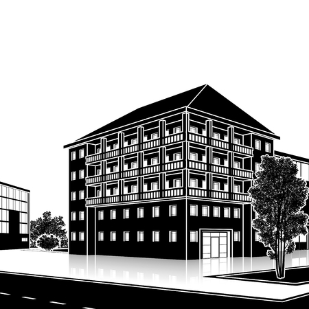 city building: silhouette office building with the entrance and a reflection on the background of the street Illustration