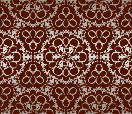 seamless pattern of white lace on a claret red background Çizim