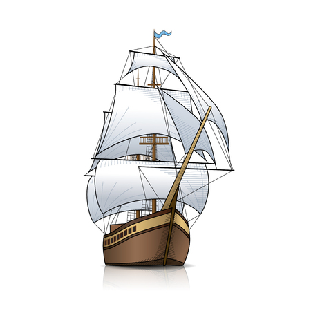 vintage sailing ship with reflection on a white background
