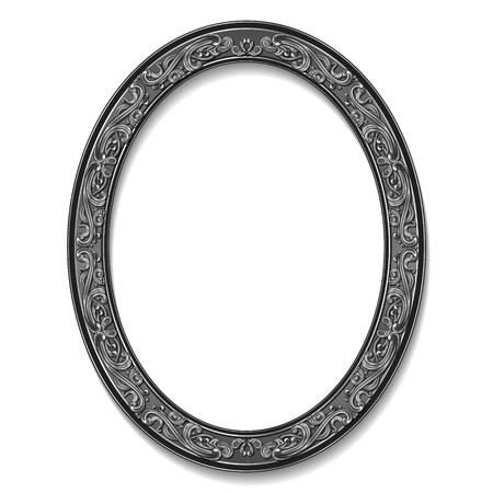 round frame silver color with shadow on white background Ilustração
